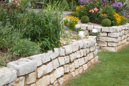 drystone: Flowers and plants growing in garden - stone wall.