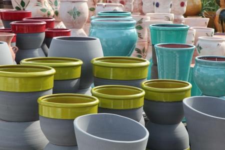 flower market: Assortment of empty flowerpots - horticulture  Stock Photo