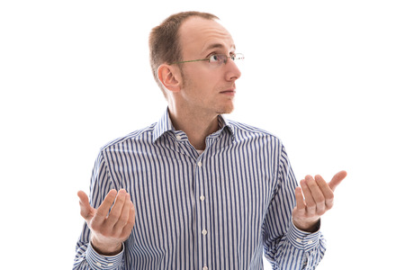 stunned: Stunned - isolated on white man with glasses is helpless Stock Photo