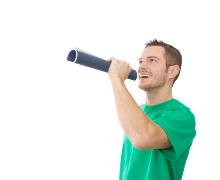 orator: Man in green with mouthpiece - orator - isolated on white Stock Photo