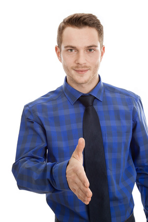 Sales staff reaches out. Manager gives a handshake - isolated on white photo