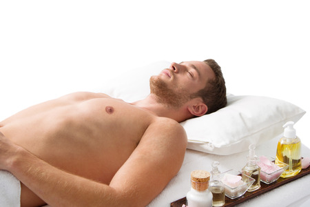 Man laying in Spa isolated Stock Photo - 24170097