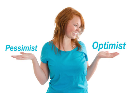 optimist: Pessimist or optimist. Optimistic young woman - isolated on white Stock Photo