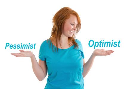 pessimist: Pessimist or optimist. Optimistic young woman - isolated on white Stock Photo