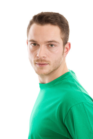 light brown eyes: Young man with green T-shirt - isolated on white