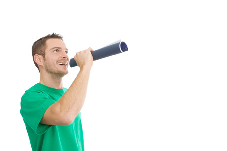 orator: Man in green with megaphone - orator - isolated on white Stock Photo