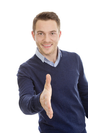 escrow: Attractive businessman offers his hand