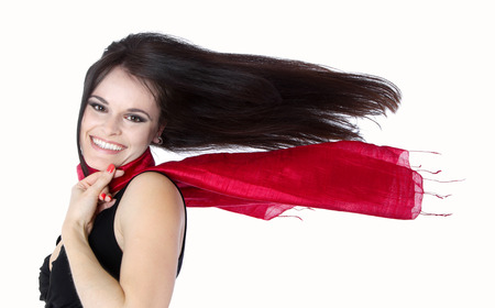 make summary: Dark-haired young woman with flowing hair