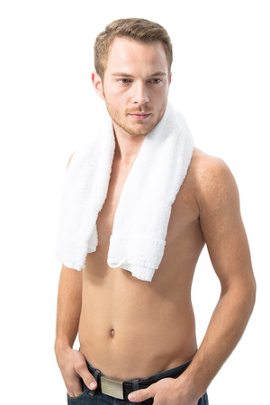 Man after shower with towel - isolated on white photo