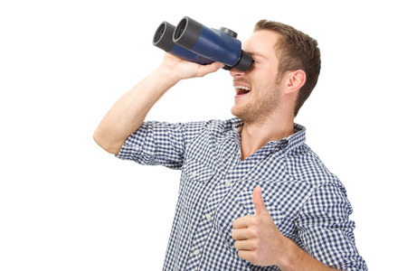 Positive views, man with binoculars thumbs up photo