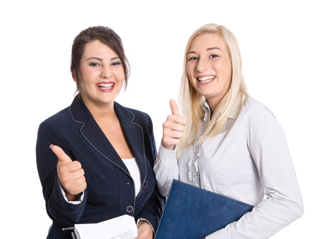 passed: Attractive successful bussineswomen thumbs up and smiling on white