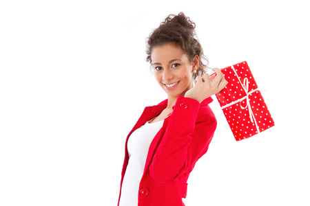 Beautiful woman with wrapped red dots gift box photo