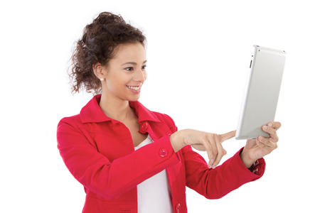 Young woman take a picture with a tablet PC, isolated on white photo