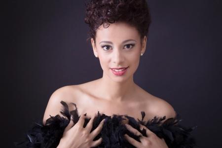 sexy black dress:  Elegant charming lady in evening dress