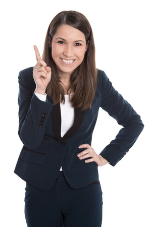 humorously: Happy caucasian business woman is pointing with forefinger isolated on white.