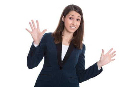 business skeptical: Esc�ptico mujer de negocios cauc�sico manos arriba - aislados en blanco.