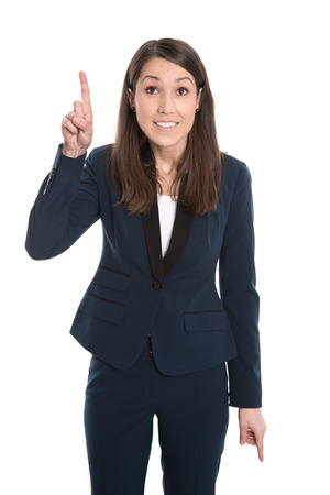 blazer: Happy caucasian business woman is pointing with forefinger isolated on white.