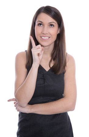 humorously: Happy business woman is pointing with forefinger isolated on white - joy.