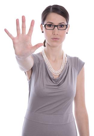 acoso laboral: Caucásica mujer de negocios aislados diga alto - concepto para la intimidación.