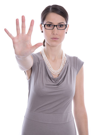 molestation: Isolated business caucasian woman says stop - concept for bullying.