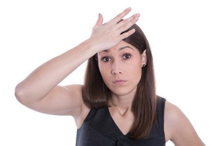 Geïsoleerde mooie blanke vrouw heeft een afspraak vergeten Stockfoto