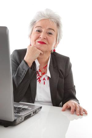 lawful: Mature lady enjoys job - isolated on white