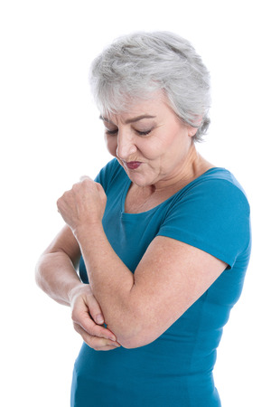 abrasion: Portrait of mature woman has joint pain - isolated on white Stock Photo