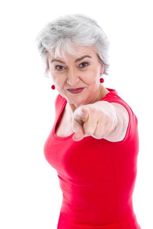 krachtige vrouw: Portret van krachtige vrouw - geïsoleerde Stockfoto