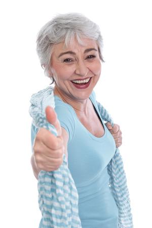 vigorously: Happy woman in the prime of life Stock Photo