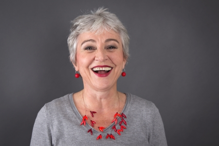 womanhood: Laughing gray-haired lady