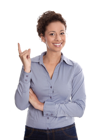passed: Young attractive business woman smiling pointing finger up isolated on white background