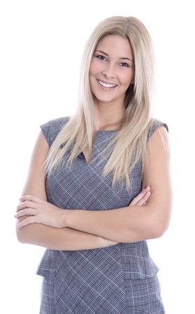 Geschäft: Content Pretty kaukasischen blonde mit verschränkten Armen in ärmelloses Kleid - isoliert auf weiß