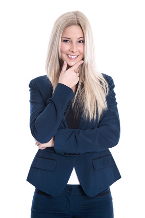 Portrait of young blond attractive smiling businesswoman arm folded isolated on white Stock Photo - 24428540