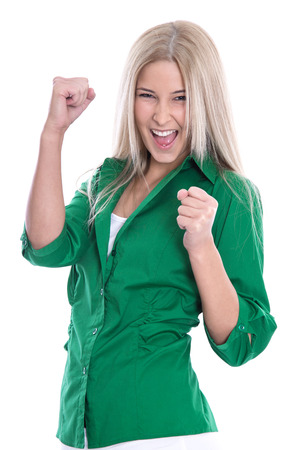 Isolated successful businesswoman  - jumping for joy with fists  photo