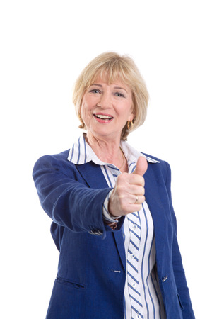 thumbsup: Business woman showing thumbs-up