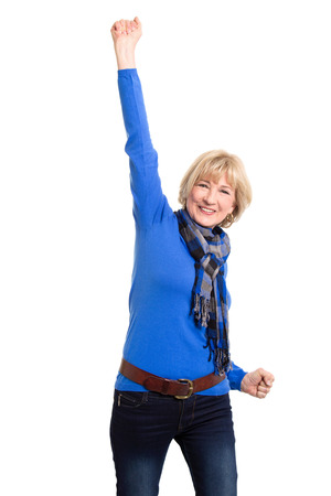 Senior woman posing isolated on white photo