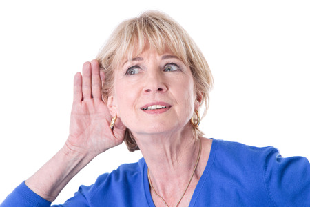 golden ager: Older woman hearing Stock Photo