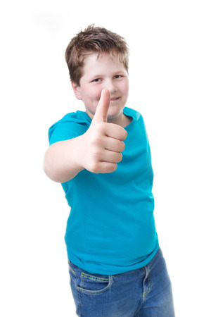 sucessful: Sucessful pupil thumbs up