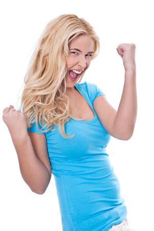 cabello rubio: Mujer joven radiante de felicidad - cabello rubio - aislados en blanco Foto de archivo