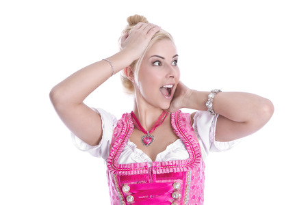 dirndl: Isolated blonde woman in dirndl