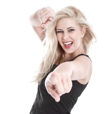 sexy blonde girl: Pojedynczo happy sexy blondynka Zdjęcie Seryjne