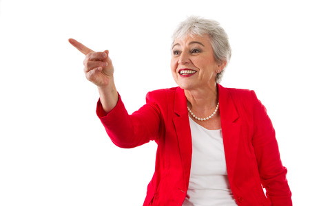 entrepreneurial: Senior businesswoman isolated in white with a blue jacket Stock Photo