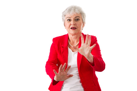woman stop: Isolated businesswoman says no - isolated on a white background