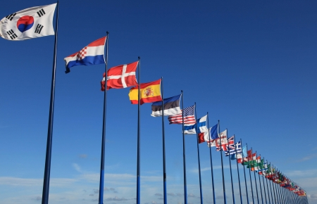 world flags: sky background with international flags