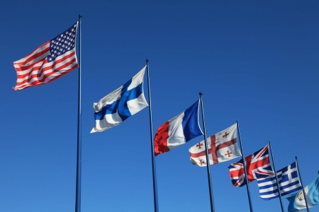 international flags: sky background with international flags