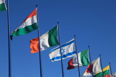 european championship: sky background with international flags