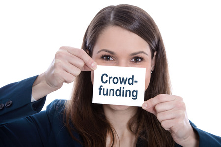 Isolated business woman holding a sign with crowdfunding