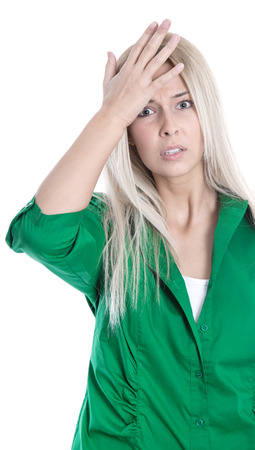 forgot: Business pressure: frustrated pretty young blond woman in business outfit touching her head  Stock Photo