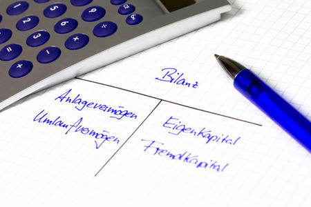 balance sheet: Balance sheet - financial concept on a white paper  Stock Photo
