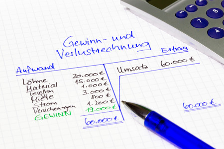 outgoings: German balance sheet: revenues and outgoings - financial concept Stock Photo